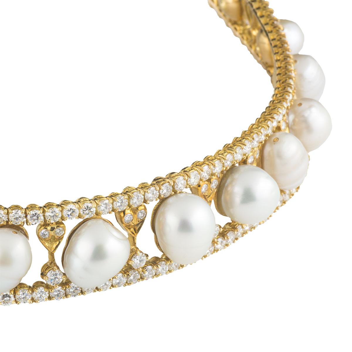 Yellow Gold Diamond and Pearl Tiara